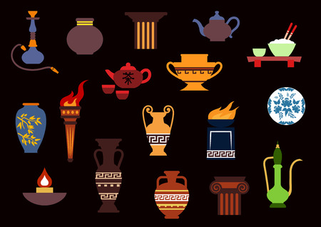 tea lamp: Containers and kitchenware icons in flat style with ancient torch, stone fire bowls, amphoras, copper and ceramic teapots, oil lamp, hookah pipe, tea services, vases, jug and plates
