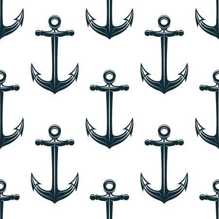 flukes: Vintage blue naval anchors with curved arms and sharp flukes seamless pattern for marine and nautical background design Illustration