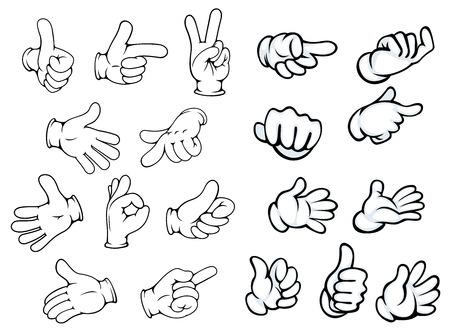 comunicación: Gestos con las manos y los punteros en el estilo de los cómics de dibujos animados para el anuncio o el diseño de la comunicación, aislado en blanco