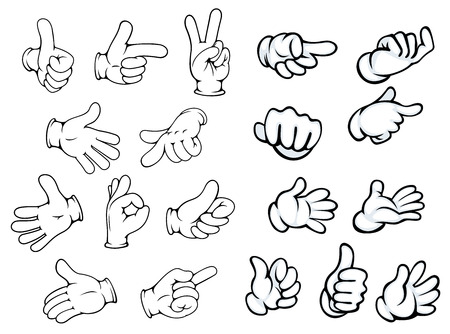 sign language: Hand gestures and pointers in comics cartoon style for advertisment or communication design, isolated on white