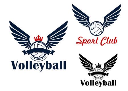 insignias: Juego de Voleibol símbolo pelota alas en colores rojo y azul, decorado por coronas y banderas de la cinta Vectores