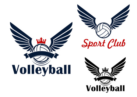 wings design: Volleyball game winged ball symbol in red and blue colors, decorated by crowns and ribbon banners Illustration