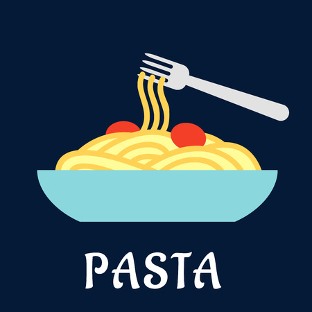 italian pasta: Bol de pasta italiana saludable con tomates y un tenedor sobre un fondo azul con la palabra Pasta de abajo