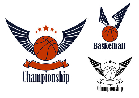 championship: Winged basketball balls game emblems design in blue and orange colors with stars and blank ribbon banner Illustration