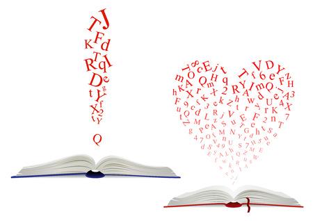 두 개의 디자인, 하나는 심장 모양의 열린 책 위에 뒤죽박죽 된 알파벳 빨간색 글자의 편지 구름