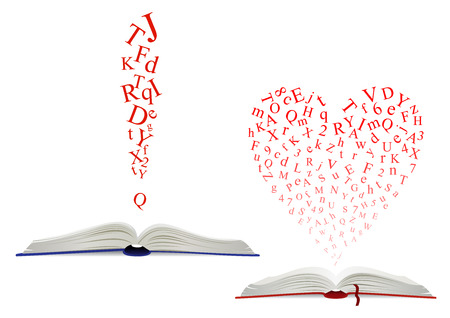 Letter cloud of jumbled alphabet red letters above an open book in two designs, one with a heart shape Illustration