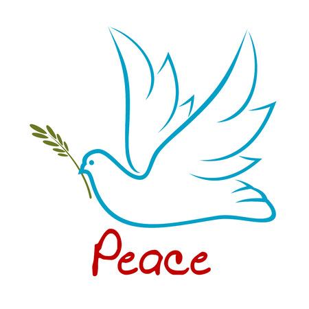 上げられた翼とくちばし、平和または宗教の概念のために緑の枝空飛ぶ鳩の青いアウトライン記号