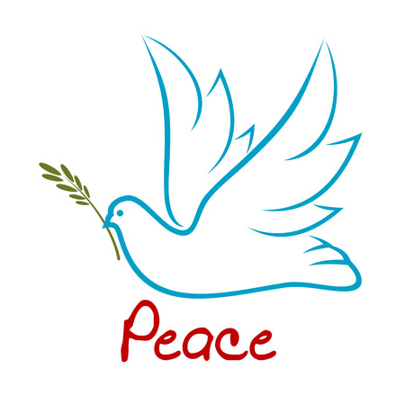 Blue outline symbol of flying dove with raised wings and green twig in beak, for peace or religion concept