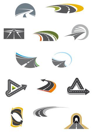 curvas: Carreteras y autopistas Iconos de colores que muestran curva, sinuosas, retroceso y carreteras asfaltadas enrevesadas, aislado en blanco