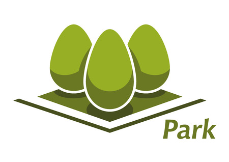 egg shaped: Spring park abstract symbol with trimmed egg shaped bushes on green grass lawn, for nature or landscape design Illustration