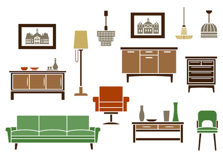 fittings: Household furniture and interior flat icons with a couch, vintage chair and armchair, wooden chests of drawers, artworks, floor lamp and light fittings