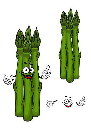tollas: Vicces rajzfilm gazdaság spárga növényi karakter életerős vaskos zöld szára és tollas lombozat, a mezőgazdaság vagy vegetáriánus tervezés