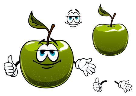 manzana verde: Personaje de dibujos animados de la fruta verde de la manzana con la hoja de mostrar el pulgar para arriba, aislado en fondo blanco Vectores