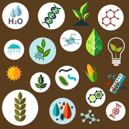 biologia: Ciencia e investigación agronómica iconos planos con cultivos agrícolas, fórmulas químicas, las plagas, los modelos de ADN y células, el clima, el sol, el agua y los símbolos de control de temperatura Vectores