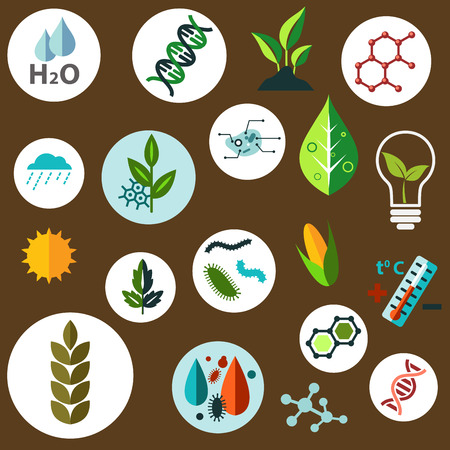 biotech: Science and agronomic research flat icons with agricultural crops, chemical formulas, pests, models of DNA and cells, weather, sun, water and temperature control symbols