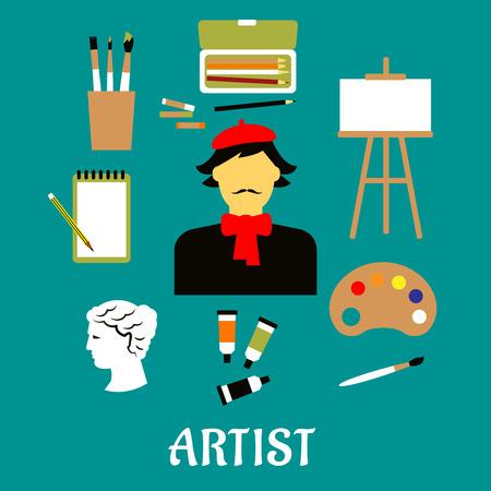 Artist beroep flat concept met ambachtsman in Franse rode baret en halsdoek, verftubes, penselen, potloden, krijt, schetsboek, palet, schildersezel en beeldhouwkunst pictogrammen Stock Illustratie