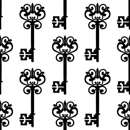 passkey: Medieval vintage keys with ornamental bows black and white seamless pattern, for background or retro textile design
