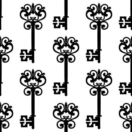 Vintage Keys médiévales avec des arcs d'ornement noir et blanc seamless, pour le fond ou le design textile rétro Banque d'images - 41915057