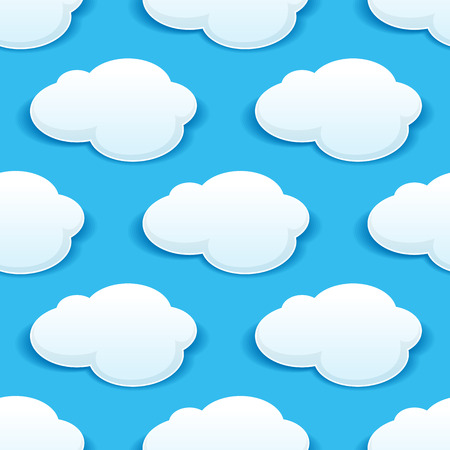 cielo con nubes: Modelo inconsútil del fondo de nubes blancas mullidas en un cielo azul turquesa con un motivo repetido