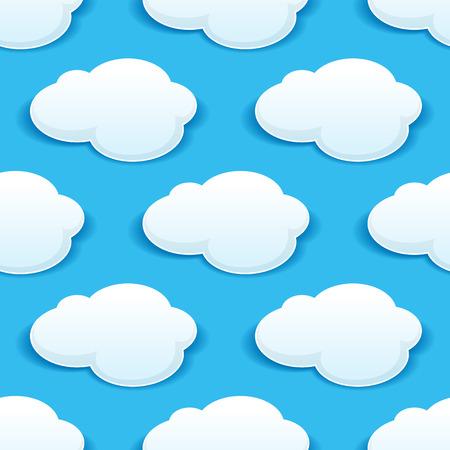 himmel mit wolken: Nahtlose Hintergrundmuster der flauschige weiße Wolken in einem türkisfarbenen blauen Himmel mit einem wiederholten Motiv