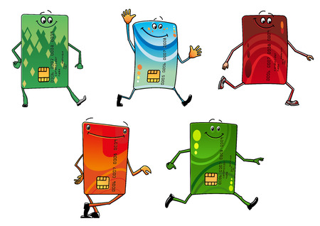 cheerful cartoon: Cartoon modern bank credit cards characters with colorful styled front sides and cheerful faces, for business, sale or advertisement design Illustration