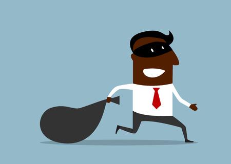 Businessman in burglar mask flees with stolen bag, cartoon flat style