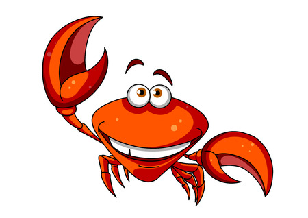 crab: Happy smiling red cartoon marine crab character waving a big claw, isolated on white