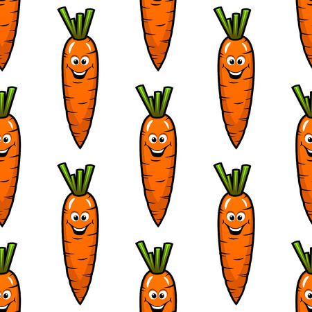 toothy: Cartoon fresh carrot vegetables with toothy smiles seamless pattern on white background for nutrition or farming design