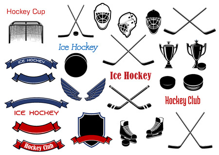 hockey equipment: Ice hockey and heraldic symbols for emblems design with sticks, pucks, skates, masks, gate, shield, ribbon banners, wings and trophies items Illustration