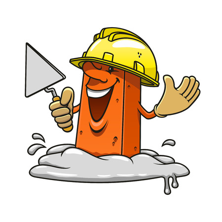 bricklayer: Cartoon happy brick professional mason character with trowel in hand wearing yellow construction helmet and gloves, standing in mortar