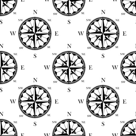 nautical pattern: Ancient ornate compass roses seamless pattern in retro black and white style, for wallpaper or travel background design Illustration