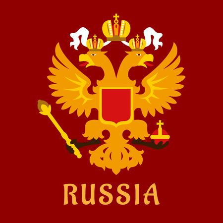 Russian flat doubleheaded imperial eagle in gold over a red background