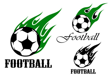 Flaming football or soccer ball emblem design with green and black flames in tribal style, for sports design Illustration