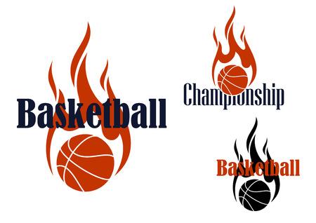 baloncesto: Emblemas o símbolos de juego de baloncesto con bolas de fuego negro y naranja y llamas curva en el estilo tribal