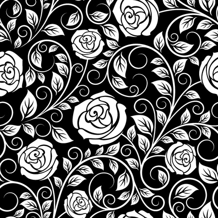 dainty: White rose floral seamless pattern with curled tips and dainty leaves on black background, for luxury interior design Illustration