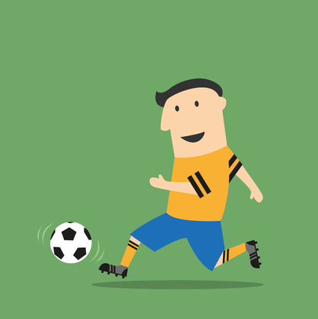 bombardier: Football or soccer player in uniform running with the ball on field during the match. Cartoon flat style Illustration