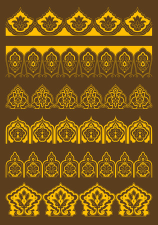 golden frames: Golden decorative arabesque borders with persian floral ornaments on brown background for embellishment or textile design