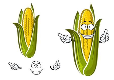 maiz: Maíz dulce o personaje de dibujos animados de vegetales de maíz aislado en blanco para la agricultura o el diseño de alimentos Vectores