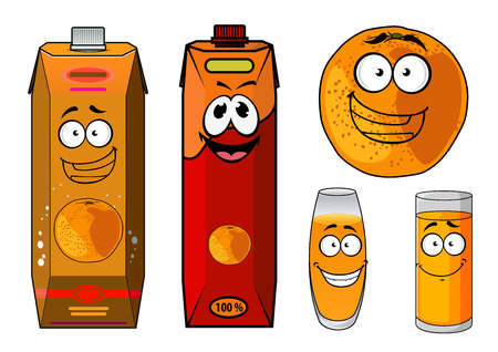 orange fruit: Fresh orange juice cartoon characters with a smiling whole orange fruit, glasses of juice and two bright cartons for food pack design