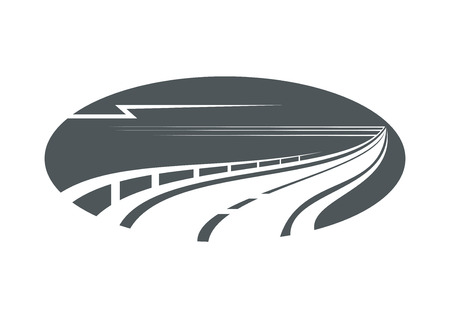 Highway, road or pathway concept with an oval gray icon of winding freeway with side rail Illustration