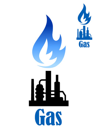 petroleum blue: Industrial icon with a burning flame of natural gas above a refinery plant with pipes with the text Gas below