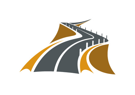 highways: Icon of mountain road over a precipice with steep rocky slopes on both sides and concrete safety bollards receding into distance, suitable for transportation or travel design