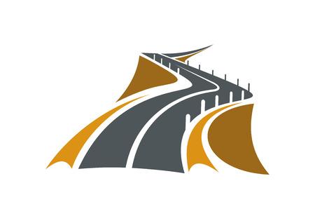concrete: Icono de la carretera de montaña por un precipicio con pendientes rocosas escarpadas en ambos lados y bolardos de seguridad concretas que retroceden en la distancia, apto para el transporte o el diseño de viajes Vectores