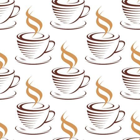 fresh brewed: Steaming coffee cups seamless pattern with brown cups and saucer of hot fresh brewed beverage in doodle sketch style on white background