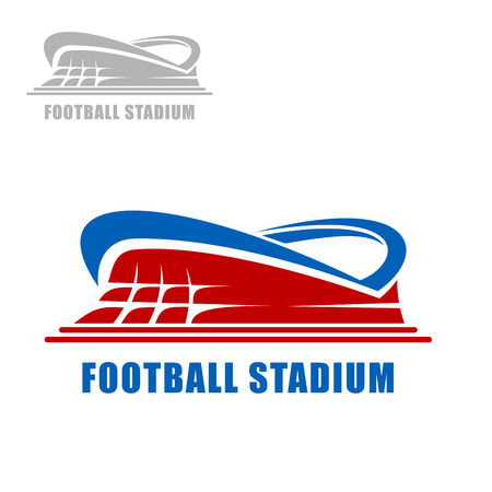 Football or soccer stadium building icon with red carcass and blue roof for sports design