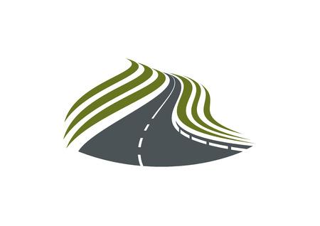 Huvudvägväg med vita mittsträng och grön vägkanten isolerad på vit bakgrund, för resor eller transportdesign