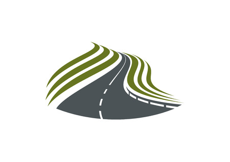 Highway road with white dividing strip and green roadside isolated on white background, for travel or transportation design Illustration