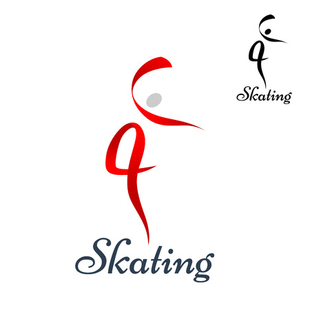 Figure skating symbol with dancing woman silhouette composed of red ribbons, also with small black variant and caption Skating Illustration