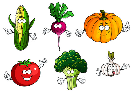 elote caricatura: Tomate fresco, calabaza, brócoli, mazorca de maíz, rábano y verduras personajes de dibujos animados de ajo con caras graciosas aisladas sobre fondo blanco, para la agricultura o el diseño de alimentos naturales