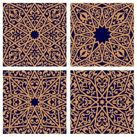 arabesco: Patrones sin fisuras árabe con adornos orientales tradicionales con elementos florales sobre fondo azul oscuro. Para baldosas o moqueta de diseño